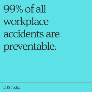 99% of all workplace accidents are preventable.